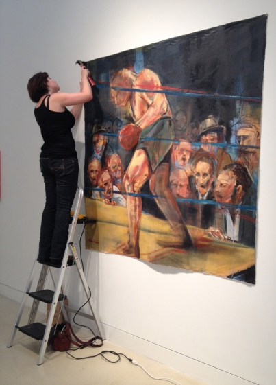 "Installing ""Ringside"" at the Torrance Art Museum (TAM)."